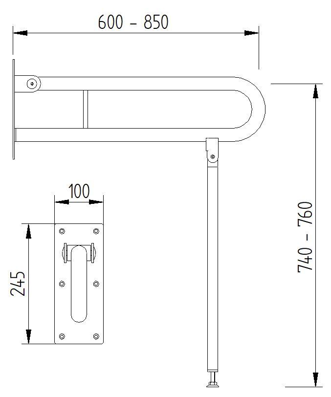 Skizze - Klappgriff mit Bodenstütze - Serie Funktion von Lehnen