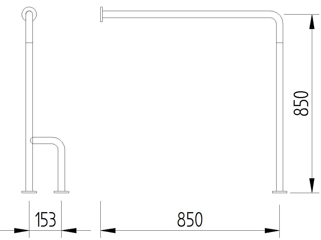 Skizze - Boden-Wand-Stützgriff - Serie Funktion von Lehnen