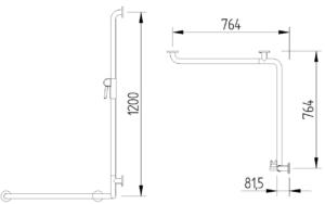 Skizze - Duschhandlauf mit angebogener Brausestange - Serie Funktion von Lehnen