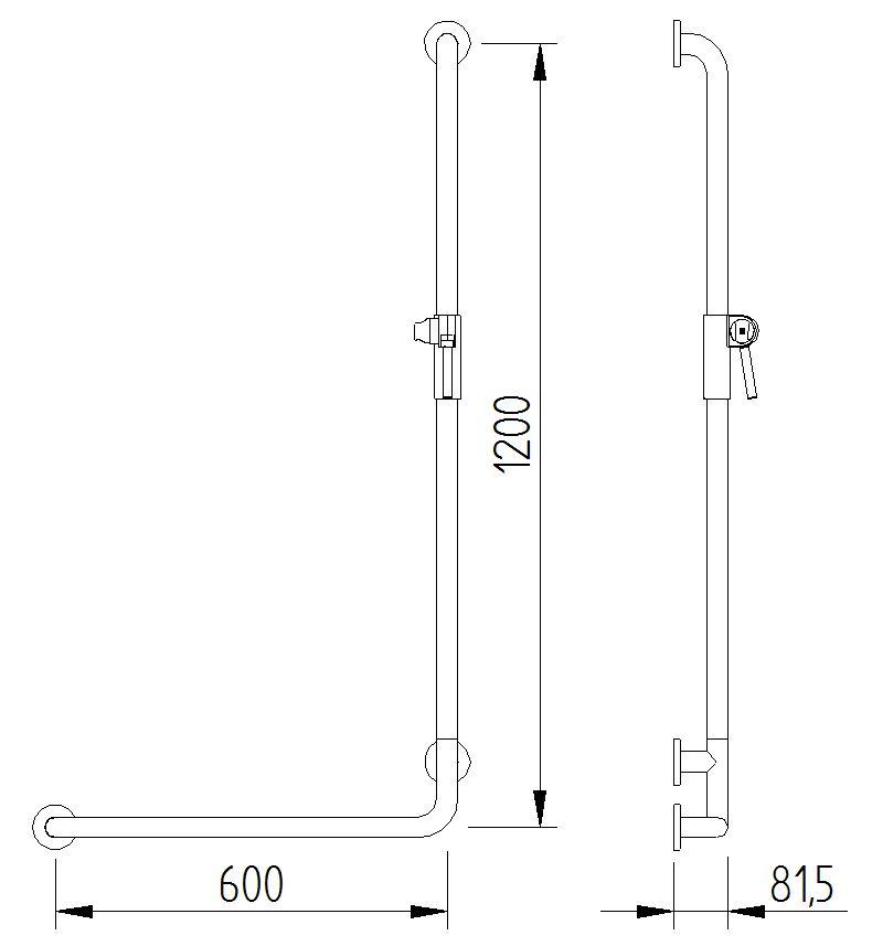 Skizze - Duschhandlauf 90° mit Brausehalter - Serie Funktion von Lehnen