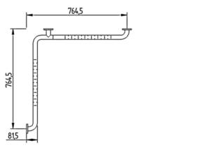Skizze - Duschhandlauf ohne Brausestange - Serie Funktion von Lehnen