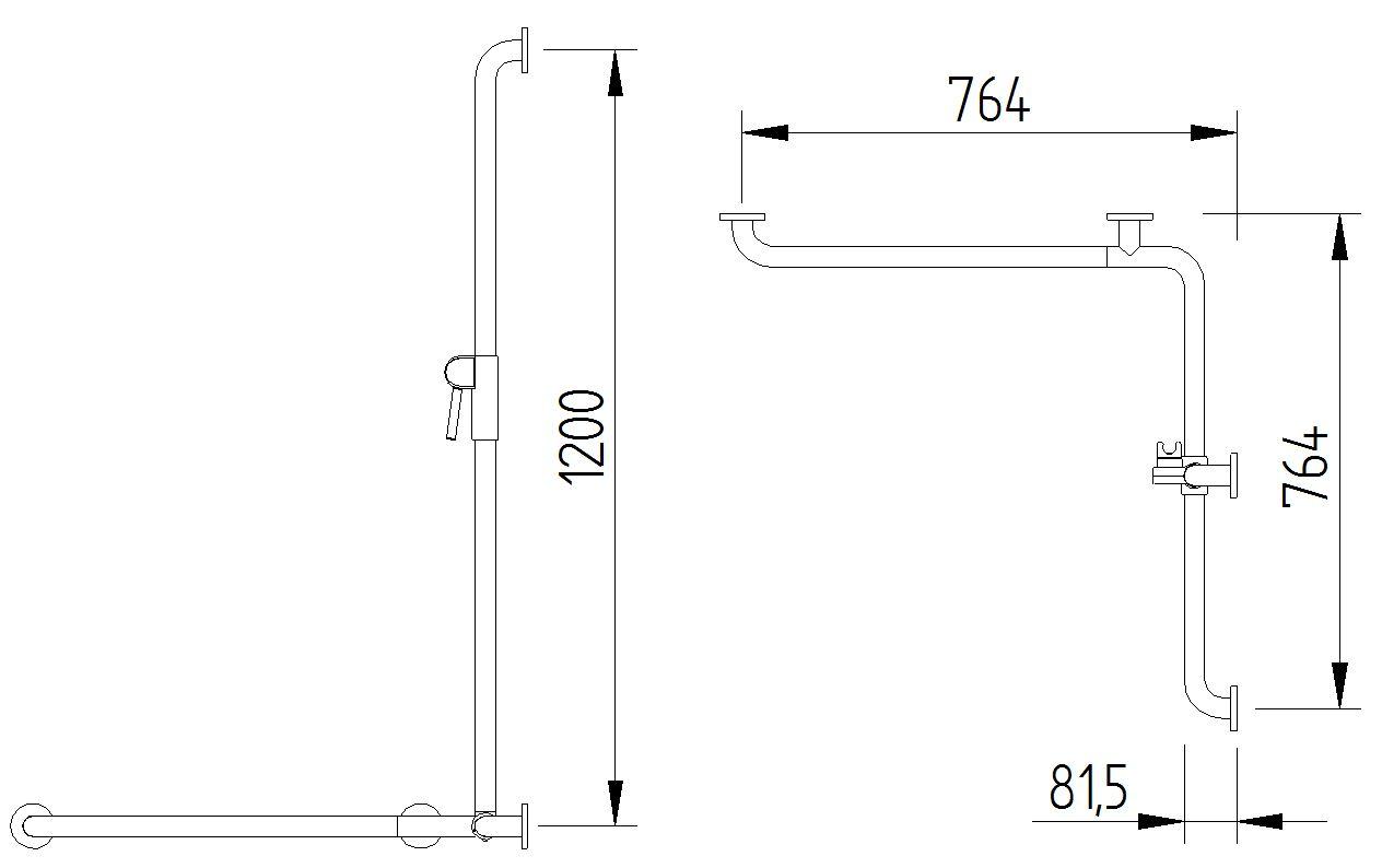 Skizze - Duschhandlauf mit verschiebbarer Brausestange - Serie Funktion von Lehnen