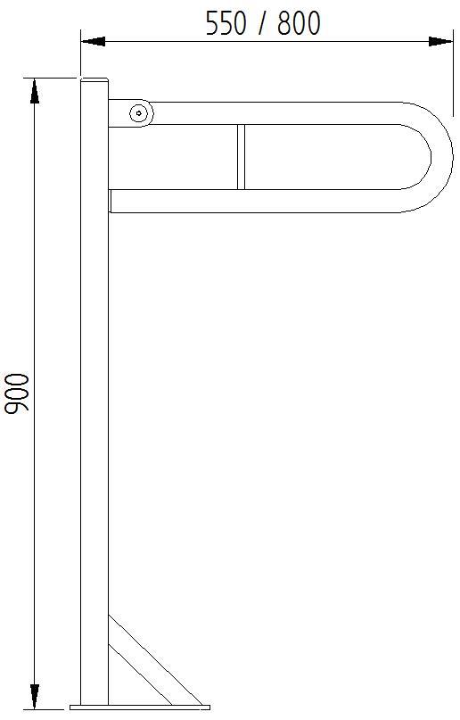 Funktion - Klappgriff Bodenmontage - Skizze