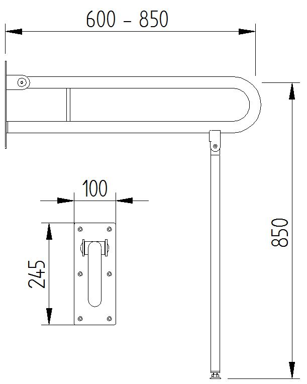 Funktion - Klappgriff mit Bodenstütze - Skizze
