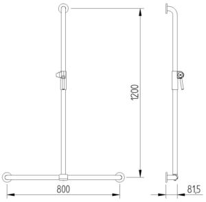 Skizze - T-Duschhandlauf mit Brausehalter - Serie Funktion von Lehnen