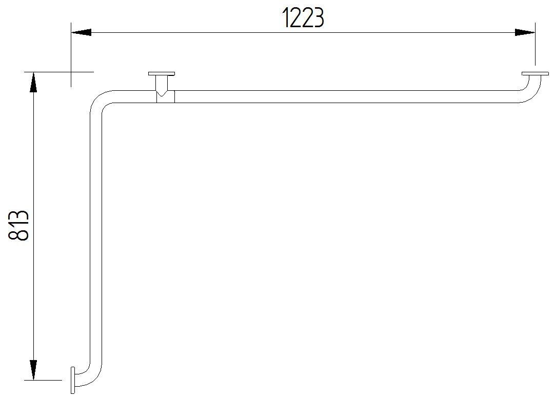 Skizze - Wannenhandlauf, 1223 x 813 mm - Serie Funktion von Lehnen