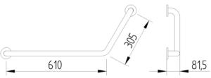 Skizze - Winkelgriff 120° 610 x 305 mm - Serie Funktion von Lehnen