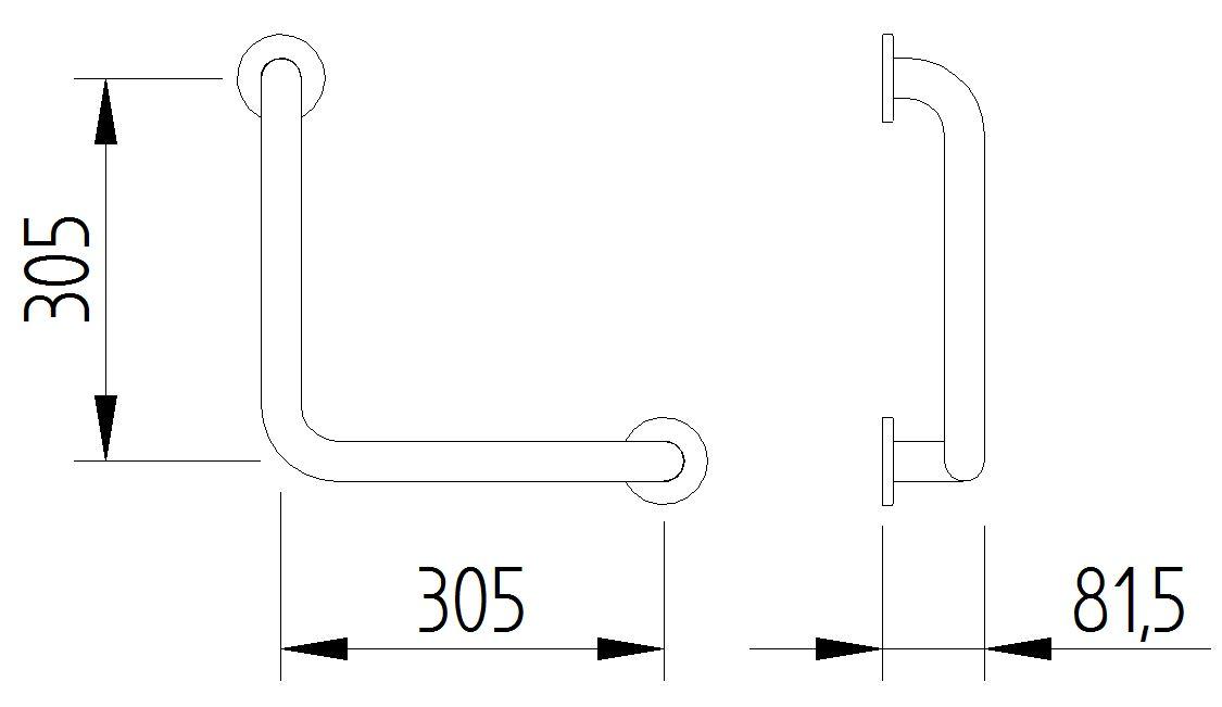 Funktion - Winkelgriff 90° 305x305 - Skizze