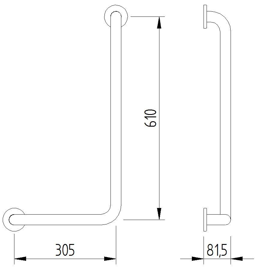 Skizze - Winkelgriff 90°, 305 x 610 mm - Serie Funktion von Lehnen