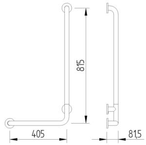 Skizze - Winkelgriff 90°, 815 x 405 mm - Serie Funktion von Lehnen