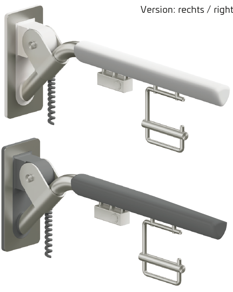 Evolution - Klappgriff in reinweiß oder anthrazit mit einem E-Taster und Papierrollenhalter
