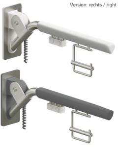 Evolution - Klappgriff in weiß und anthrazit mit zwei Elektro-Tastern und Papierrollenhalter