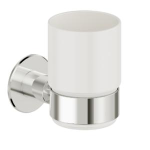 Foto - Zahnputzglashalter mit Glas, Edelstahl glatt poliert, Wandmontage - Artikel L1118400 - Serie Funktion von Lehnen