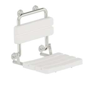 Foto - Duschsitz mir Rückenlehne, Edelstahl glatt poliert, Sitz und Lehne Kunststoff weiß, Wandmontage - Artikel L1221100 - Serie Funktion von Lehnen