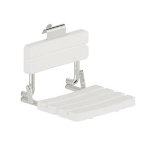Foto - Duschsitz, Edelstahl glatt poliert, Sitz und Lehnen Kunststoff weiß, zum Einhängen - Artikel L1223100 - Serie Funktion von Lehnen