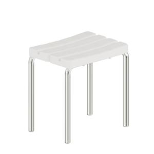 Foto - Duschhocker, Edelstahl glatt poliert, Sitz Kunststoff weiß - Artikel L1290100 - Serie Funktion von Lehnen