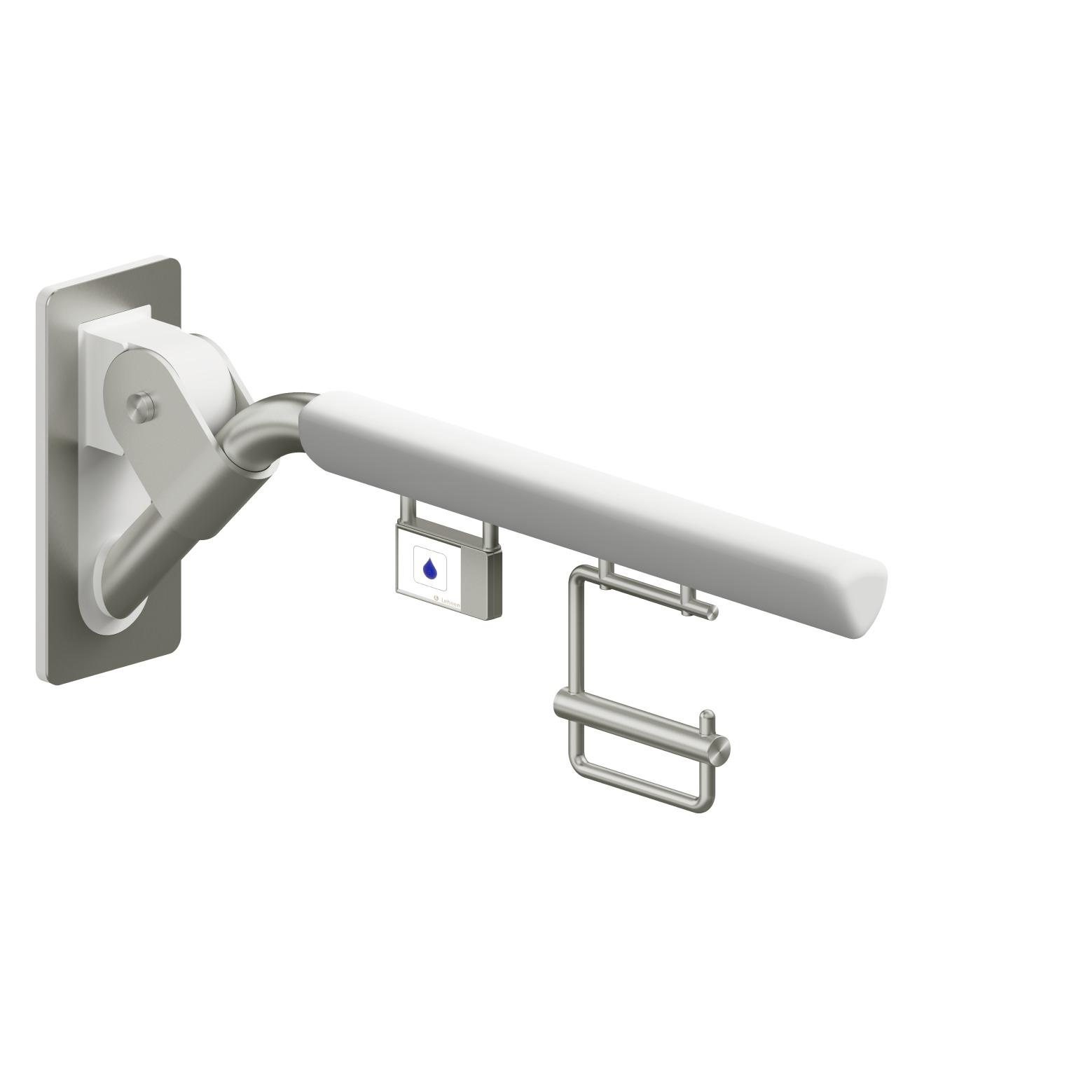 Foto - Klappgriff reinweiß gepolstert mit Funkauslöser und Papierrollenhalter, Ausladung 700 mm - Artikel L30447101 - Serie Evolution von Lehnen