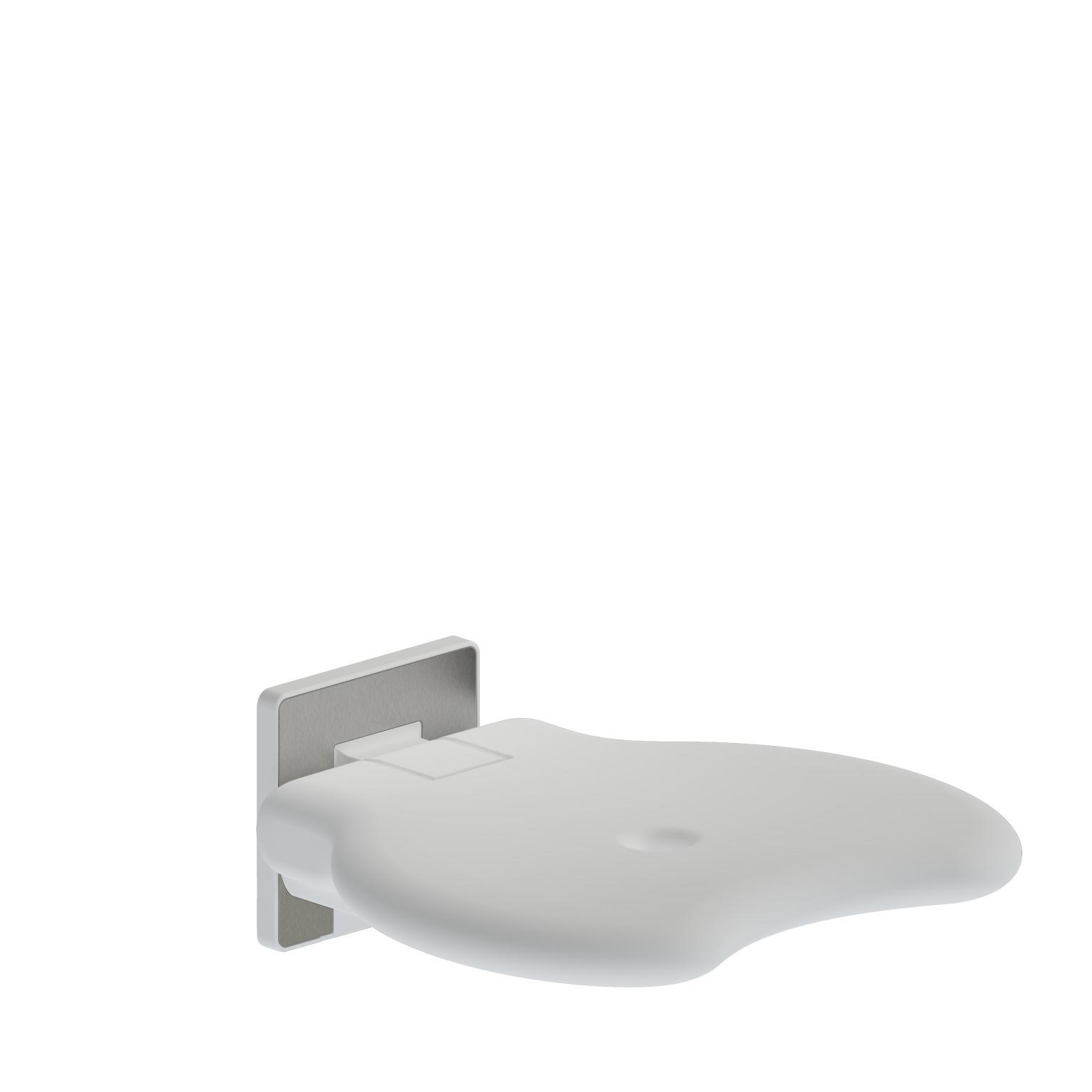 Foto - Duschsitz ohne Rückenlehne reinweiß gepolstert, Wandmontage - Artikel L32001001 - Serie Evolution von Lehnen
