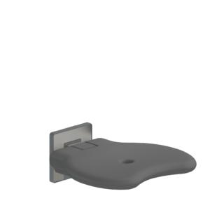 Foto - Duschsitz ohne Rückenlehne, anthrazit gepolstert, Wandmontage - Artikel L32001006 - Serie Evolution von Lehnen
