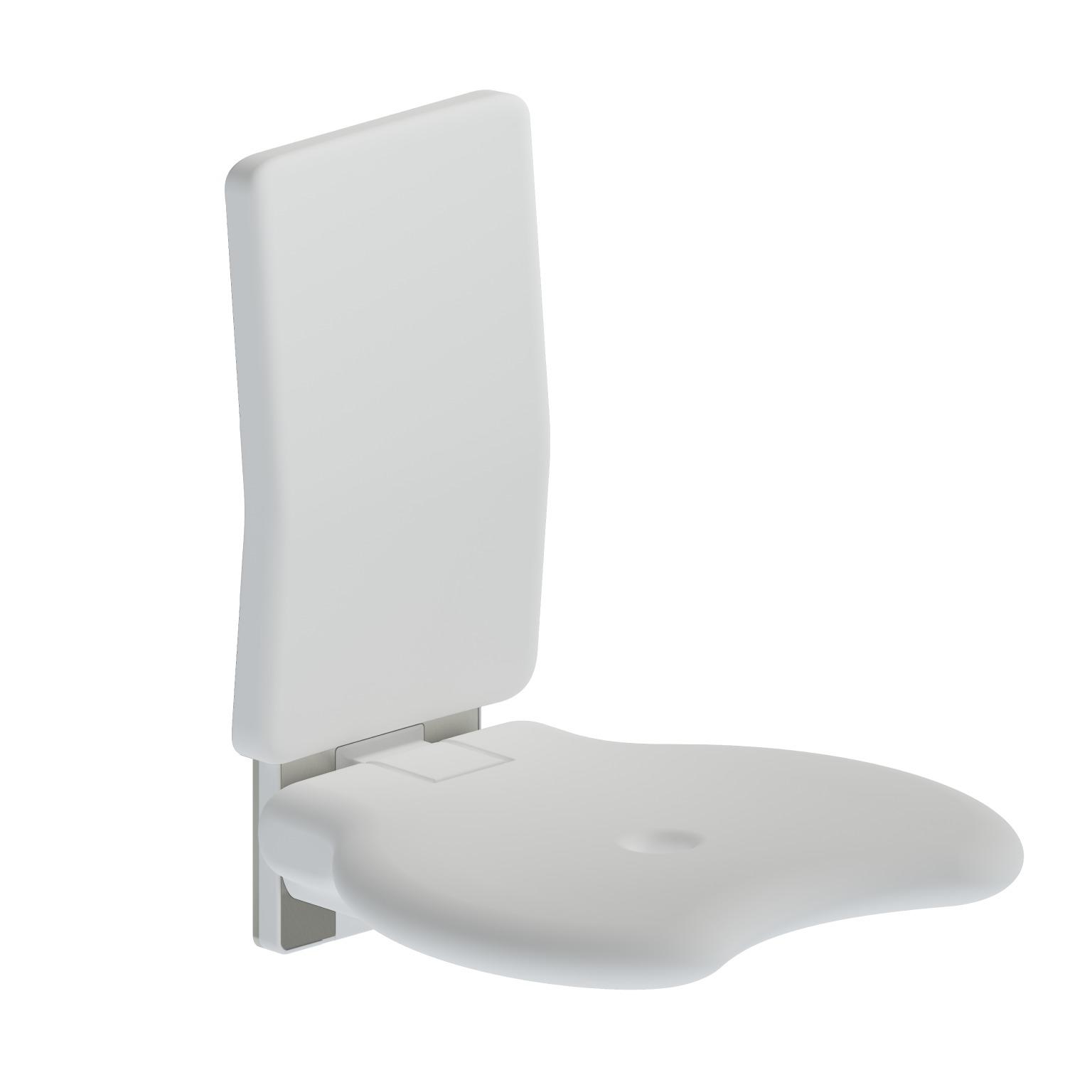 Foto - Duschsitz mit Rückenlehne reinweiß gepolstert, Wandmontage - Artikel L32005001 - Serie Evolution von Lehnen