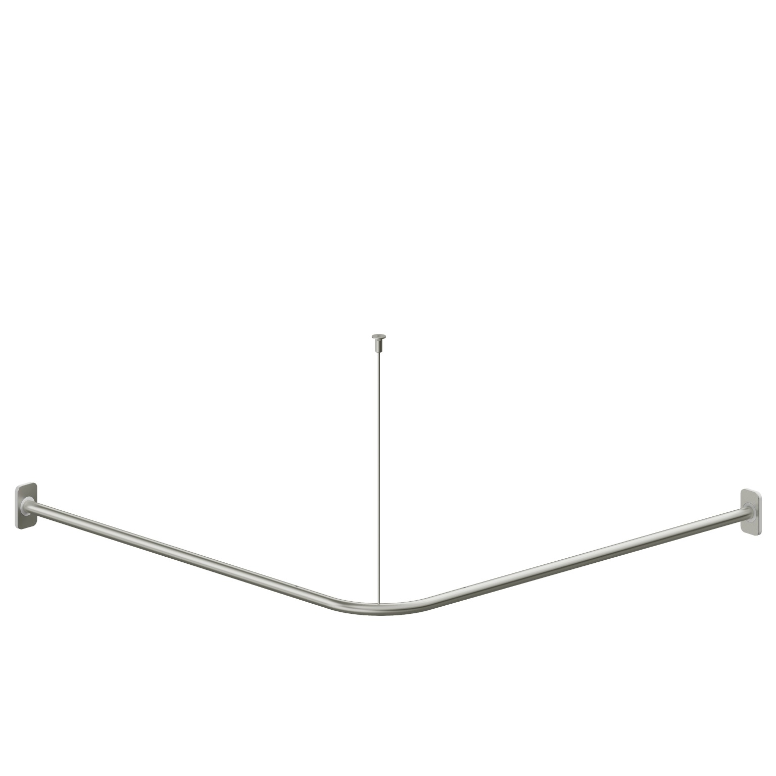 Foto - Eck-Vorhangstange, Edelstahl matt gebürstet, Flansche weiß, Maße 900 x 900 mm - Serie Evolution von Lehnen - L33101001