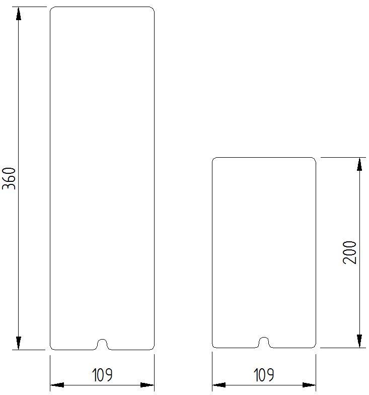 Skizze - große und kleine Abdeckung Montageplatte für Klappgriffe - Serie Funktion von Lehnen