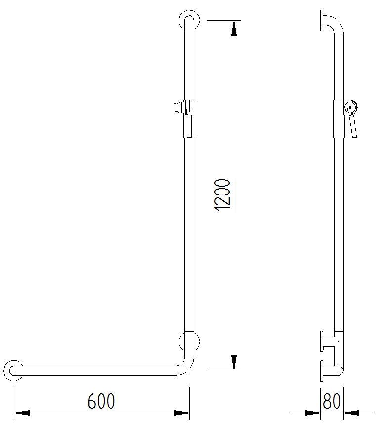 Skizze - Duschhandlauf 90° mit Brausehalter - Serie Concept Pro von Lehnen
