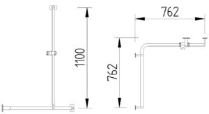 Skizze - Duschhandlauf 762 x 762 mm mit Brausestange - Serie Evolution von Lehnen