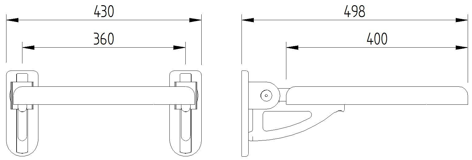 Skizze - Duschsitz ohne Rückenlehne zur Wandmontage - Serie Concept Pro von Lehnen