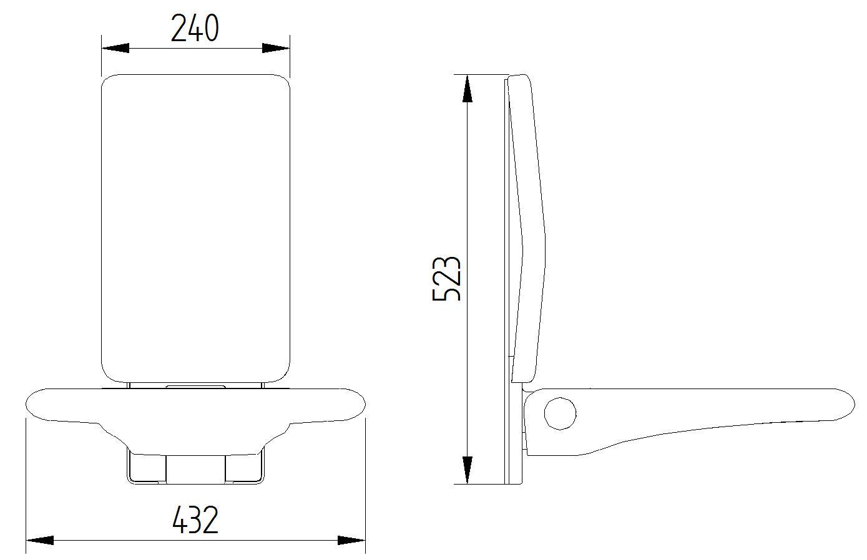 Skizze - Duschsitz mit Rückenlehne, Wandmontage - Serie Evolution von Lehnen