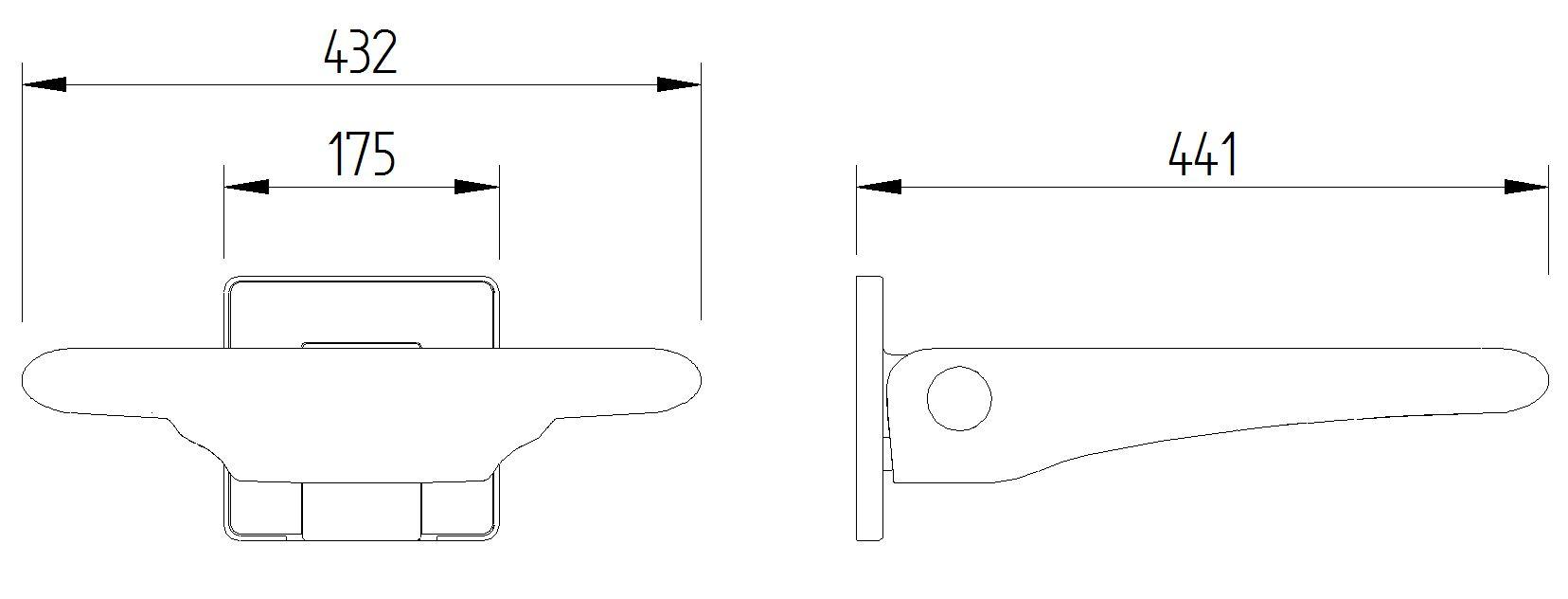 Skizze - Duschsitz zur Wandmontage ohne Rückenlehne - Serie Evolution von Lehnen