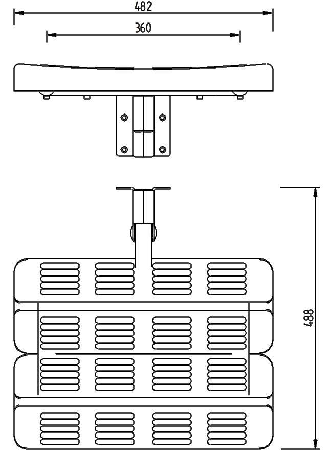 Skizze - Duschsitz ohne Rückenlehne, Wandmontage, klappbar- Serie Funktion von Lehnen