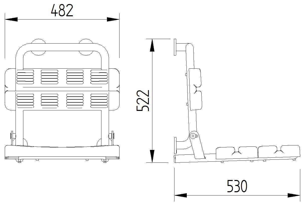 Skizze - Duschsitz mit Rückenlehne, Wandmontage - Serie Funktion von Lehnen
