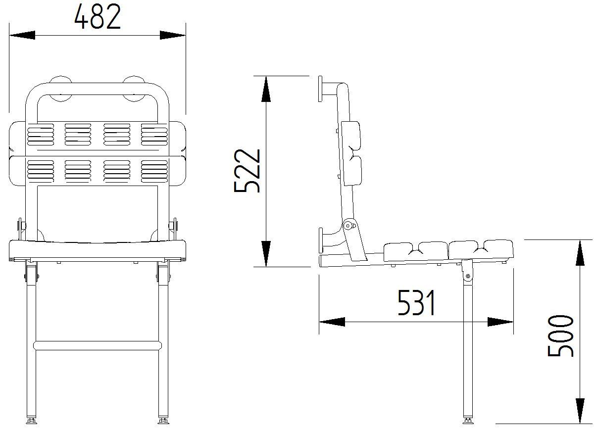 Skizze - Duschsitz mit Rückenlehne und Bodenstütze, Wandmontage - Serie Funktion von Lehnen