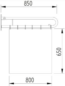 Skizze - Duschspritzschutz mit Vorhang, klappbar - Serie Funktion von Lehnen