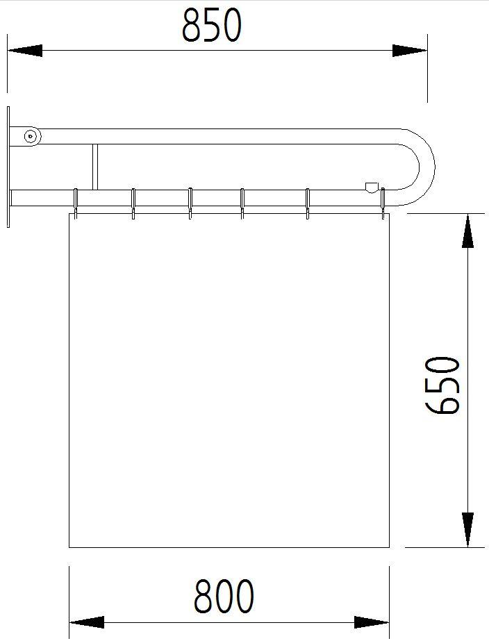 Funktion - Duschspritzschutz mit Vorhang klappbar - Skizze