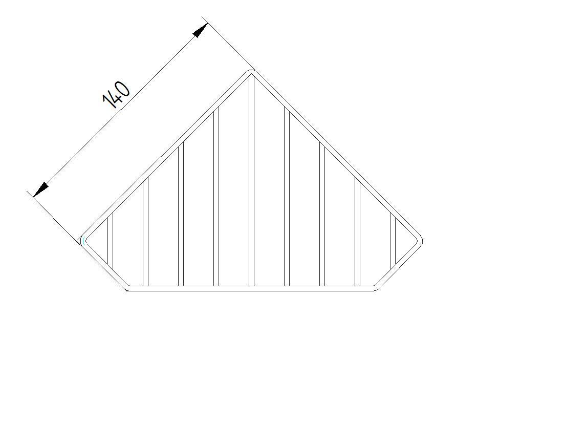 Skizze - Eck-Seifenablage, Gitter, Wandmontage - Serie Funktion von Lehnen