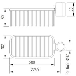 Skizze - Duschkorb, Gitter, Klemmbefestigung - Serie Funktion von Lehnen