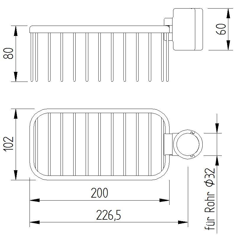 Funktion - Gitterseifenkorb zum Anklemmen - Skizze