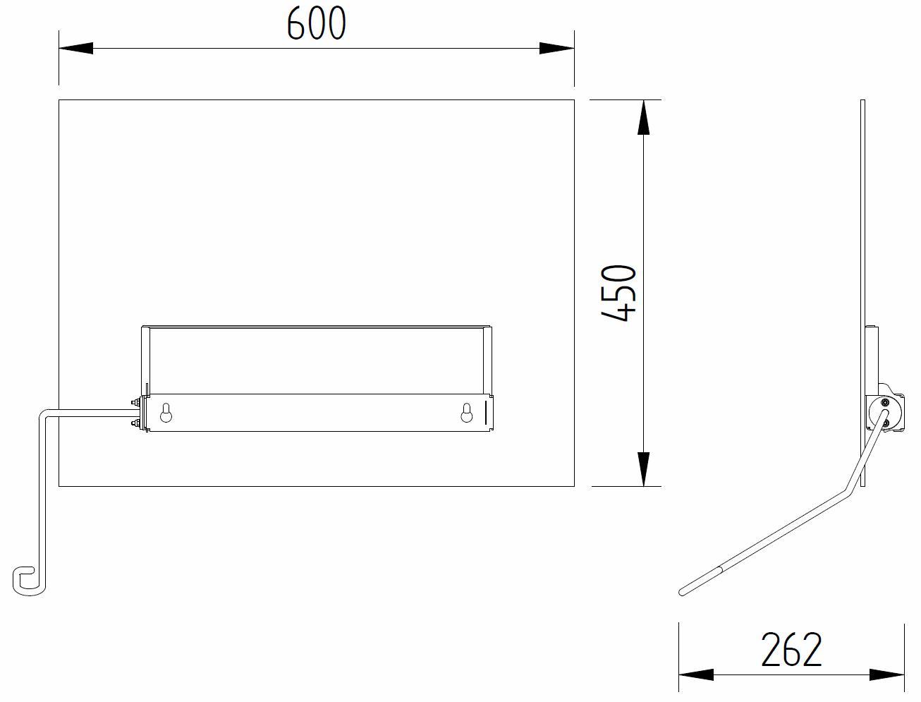 Skizze - Kippspiegel mit Bedienhebel - Serie Evolution von Lehnen