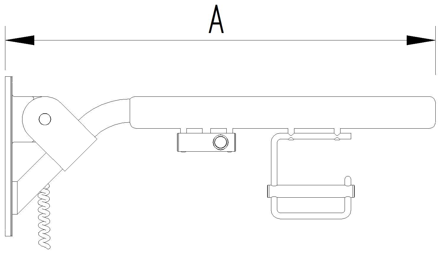 Skizze - Klappgriff mit einem Elektrotaster und Papierrollenhalter - Serie Evolution von Lehnen