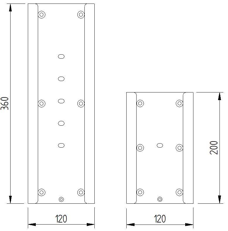 Skizze - große und kleine Montageplatte für Klappgriffe - Serie Funktion von Lehnen