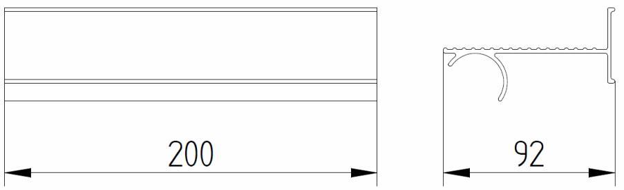 Skizze - Seifenablage zum Auflegen auf einen Duschhandlauf - Serie Evolution von Lehnen