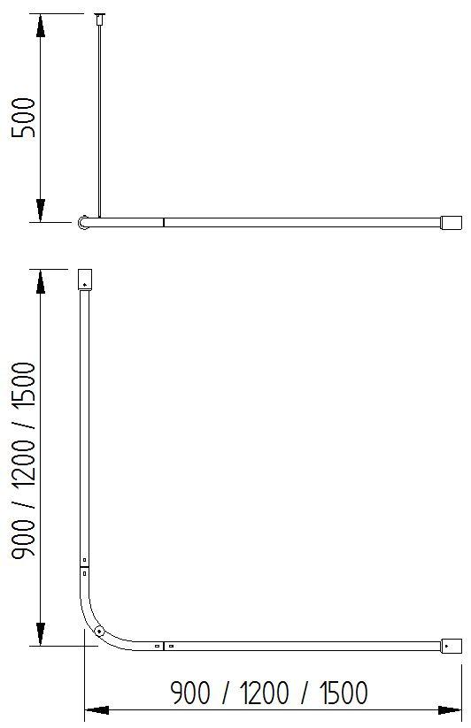 Skizze - Eck-Vorhangstange mit einer Deckenabhängung- Serie Funktion von Lehnen