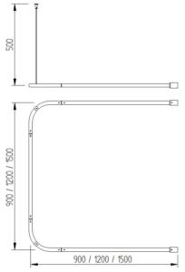 Skizze - Vorhangstange umlaufend mit zwei Deckenabhängungen - Serie Funktion von Lehnen