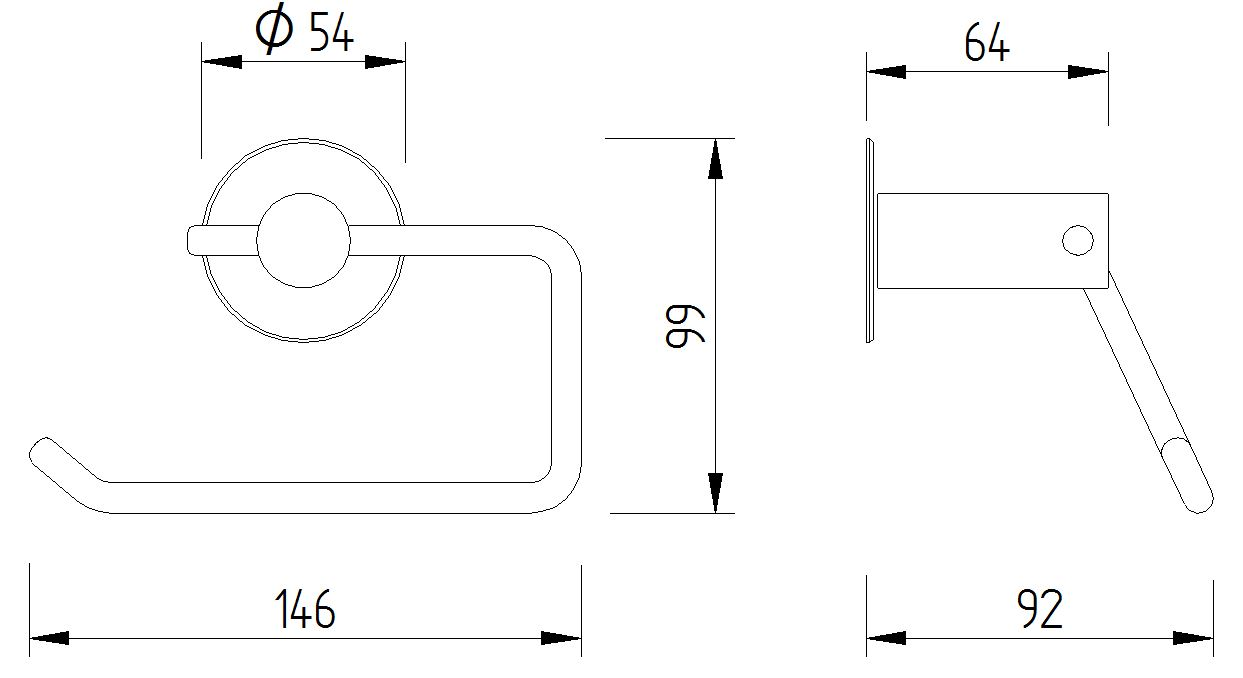 Skizze - WC-Papierrollenhalter ohne Blattstopper zur Wandmontage - Serie Funktion von Lehnen