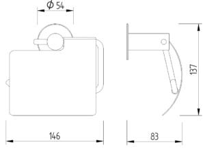 Skizze - WC-Papierrollenhalter mit Blattstopper zur Wandmontage - Serie Funktion von Lehnen