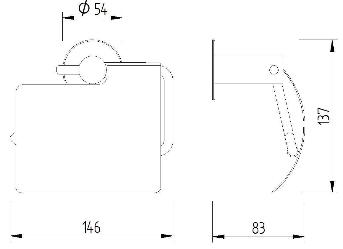 Funktion - WC-Papierrollenhalter wandmontiert mit Blattstopper - Skizze
