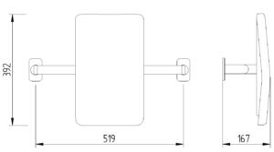Skizze - WC-Rückenlehne gepolstert- Serie Evolution von Lehnen
