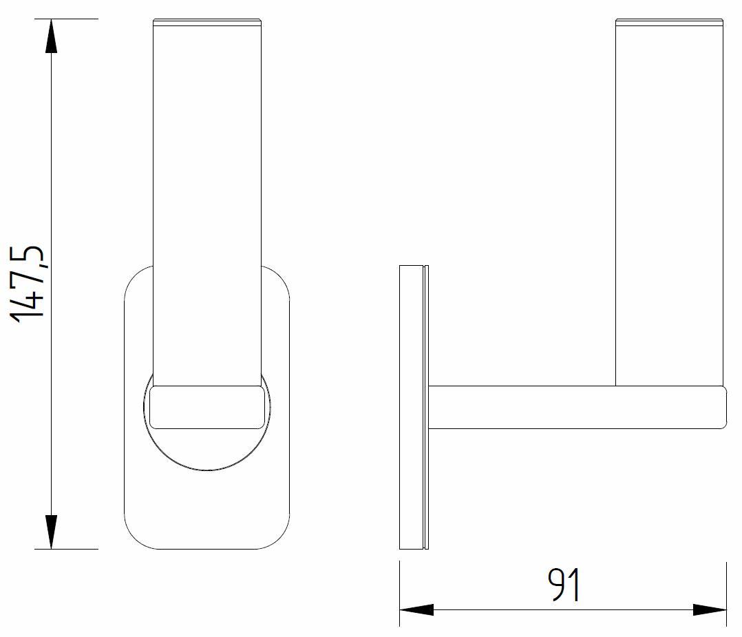 Skizze - WC-Reserverollenhalter für eine Rolle - Serie Evolution von Lehnen